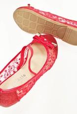 LaraModa Meisjesschoen - Ballerina's - doorzichtig - glitter - rood