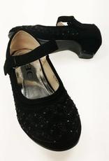 LaraModa Meisjesschoen - Pumps met hakje en strass steentjes - zwart