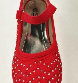 LaraModa Pumps met hakje en strass steentjes - rood
