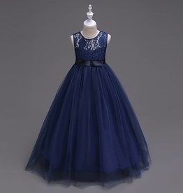 Meisjeskleding Feestjurk Victoria - navy blauw
