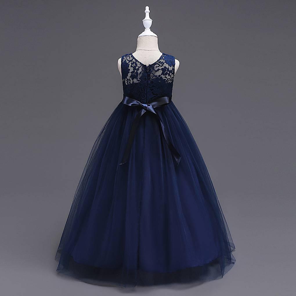 LaraModa Meisjes Feestjurk Victoria - navy blauw