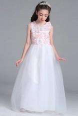 LaraModa Meisjes Feestjurk Lucy - wit / roze