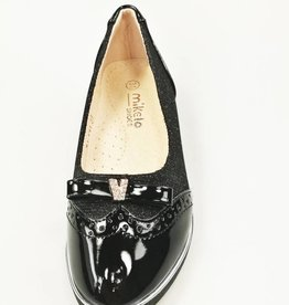 LaraModa Ballerina's - lak - glitter - zwart