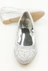 LaraModa Meisjesschoen - Pumps met hakje en strass steentjes - zilver