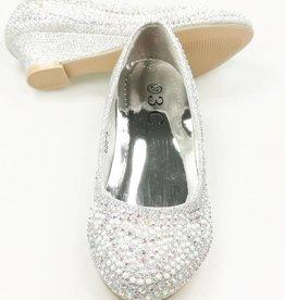 Meisjesschoenen Pumps met hakje en strass steentjes - zilver