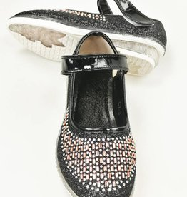 LaraModa Meisjesschoen - glitter - LED - zwart