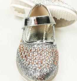 LaraModa Meisjesschoen - glitter - LED - zilver
