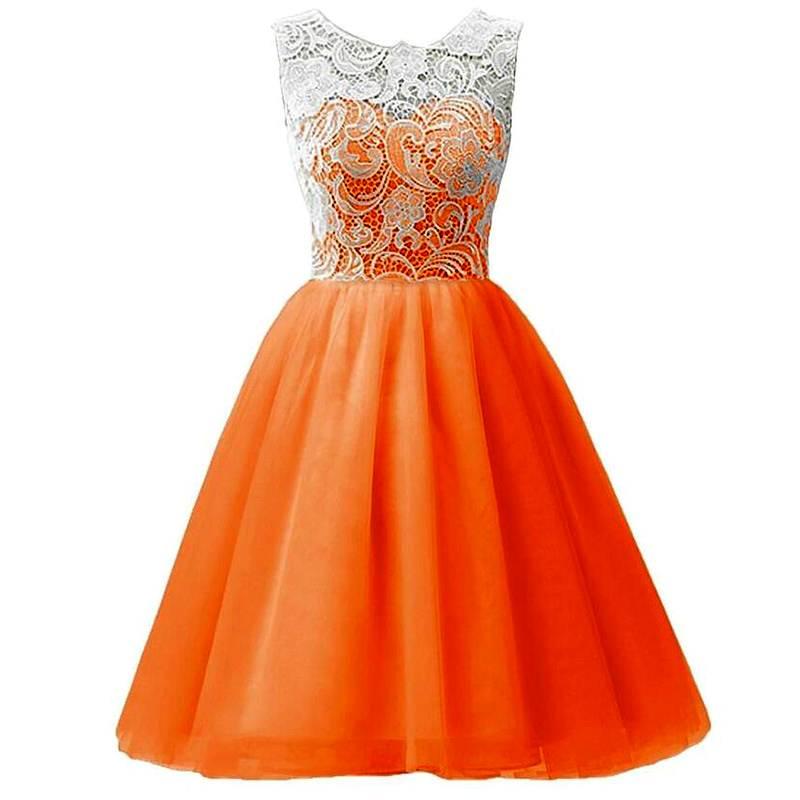 LaraModa Meisjes Feestjurk Julia - oranje