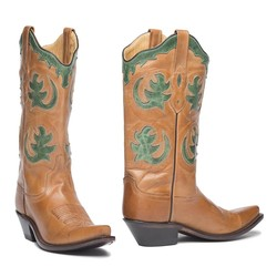 Old West Dames Cowgirlboot Canyonbrown - Green/Turquoise