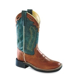 Old West Teens Broad Square Ultraflex Canyonbruin - Turquoiseblauw