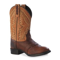 Old West Teens Roundtoe Brown Fox