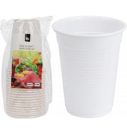 Plastic beker 220cc 20 stuks wit