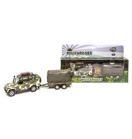 DieCast Landrover Army+aanhanger 28cm. ass model pullback