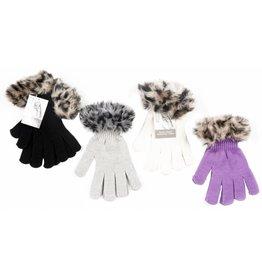 Handschoen dames met bont 4 ass. kleur