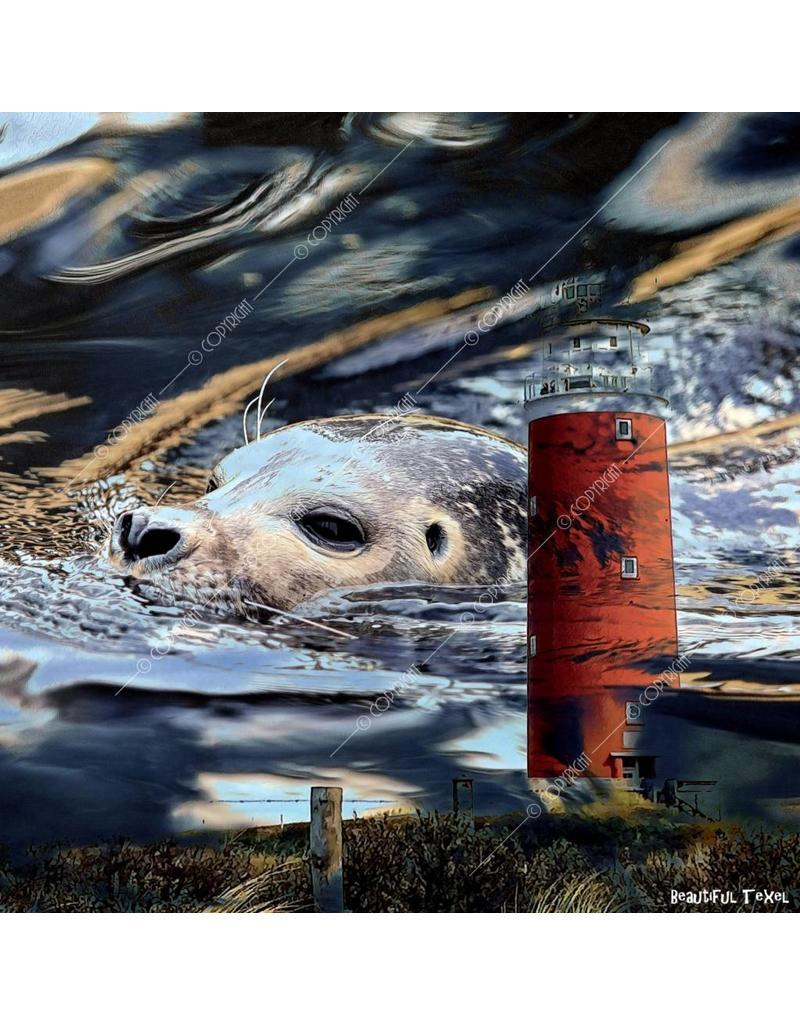 Alu Plaat Vuurtoren Texel en Zeehond 25x25cm. geborsteld uv