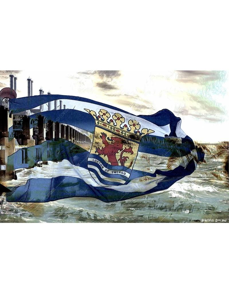 Alu Plaat Zeeland Vlag en Waterkering 30x20cm. geborsteld uv