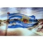Alu Plaat Zeeland Vlag en Duinen 30x20cm. geborsteld uv