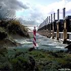 Alu Plaat Waterkering en Vuurtoren 25x25cm. geborsteld uv