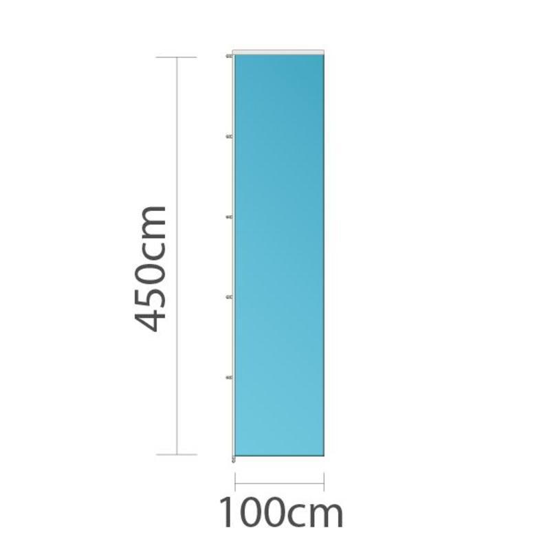 Banier, full colour bedrukt, 100x450cm