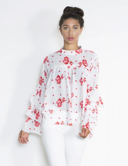 Jacky Luxury Blouse met volants en bloemenprint