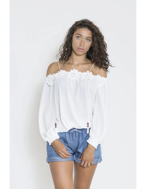 Jacky Luxury Off-shoulder top met flower details