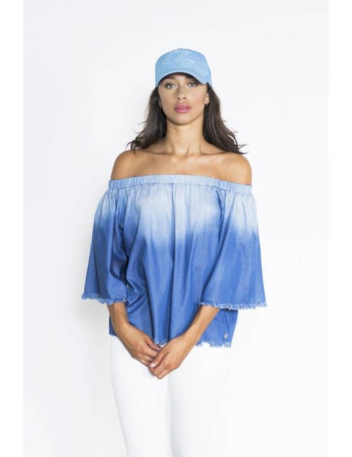 Jacky Luxury Off-shoulder denim top