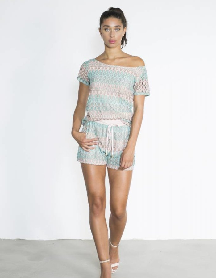 Knitted shorts met dessin