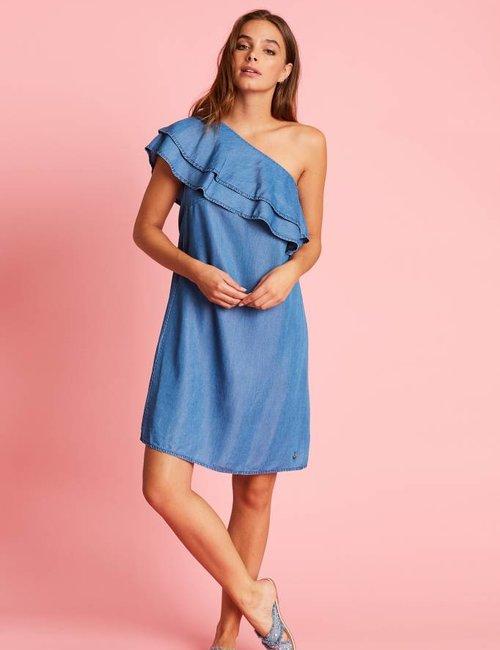 Jacky Luxury Asymmetrische denim jurk
