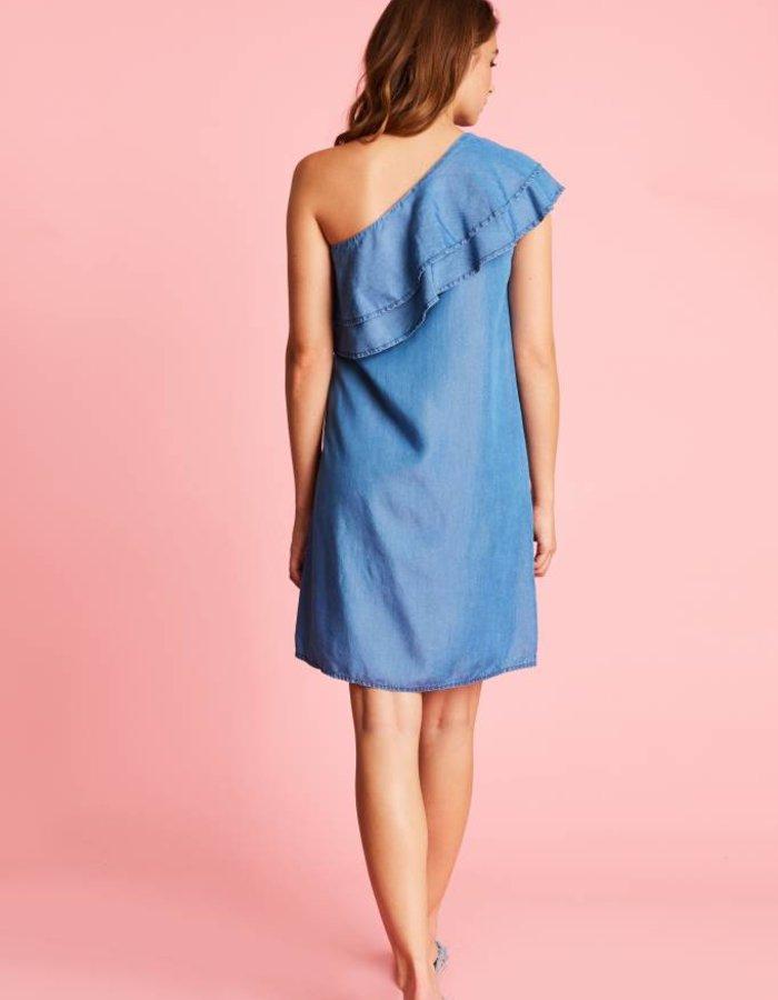 Asymmetrische denim jurk