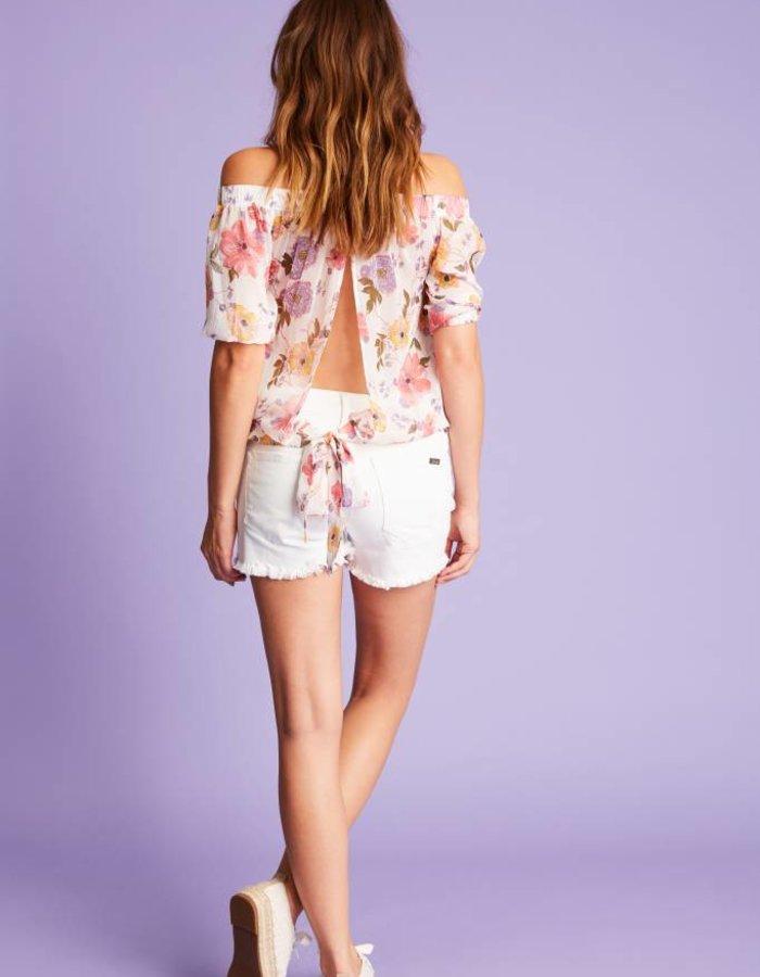 Off-shoulder top met floral print