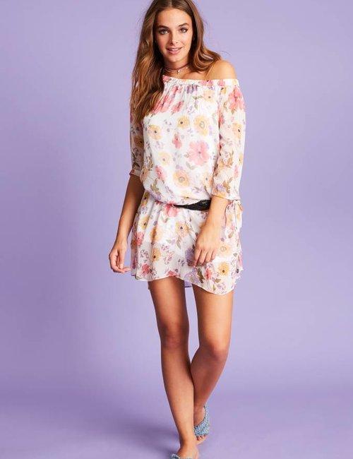 Jacky Luxury Off-shoulder jurk met bloemenprint