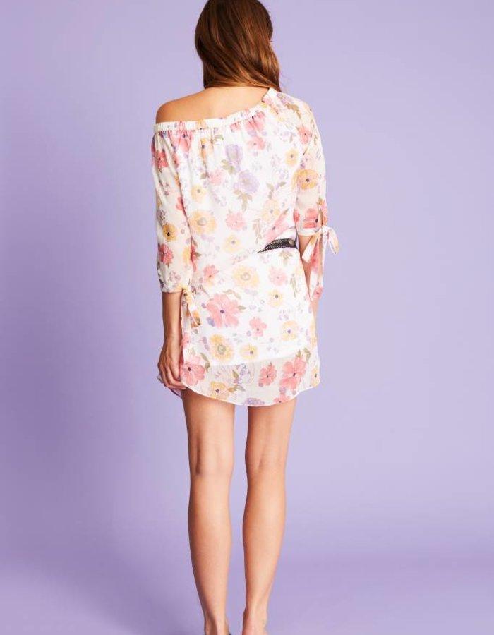 Off-shoulder jurk met bloemenprint