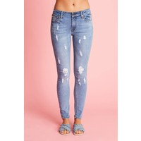 Destroyed jeans in lichte wassing