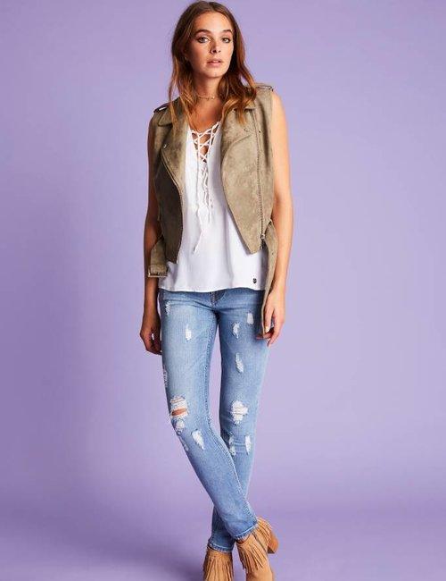 Jacky Luxury Destroyed jeans in lichte wassing