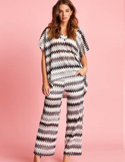 Jacky Luxury Loose fit broek met ingeweven dessin