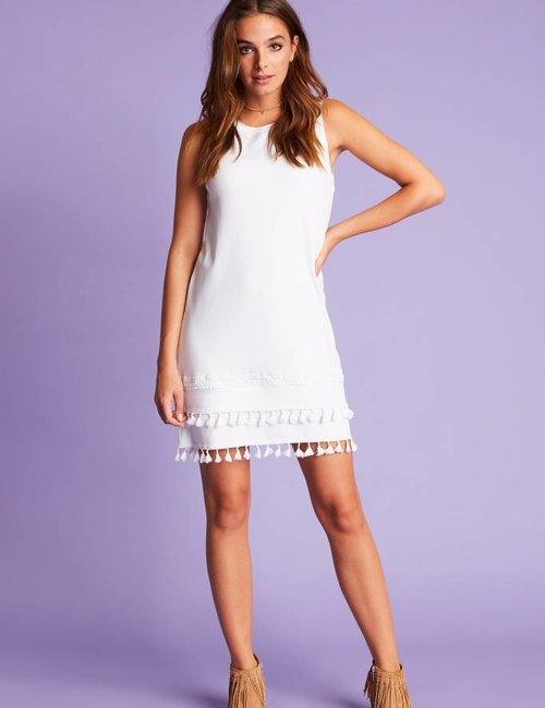 Jacky Luxury Mouwloze jurk met franjes