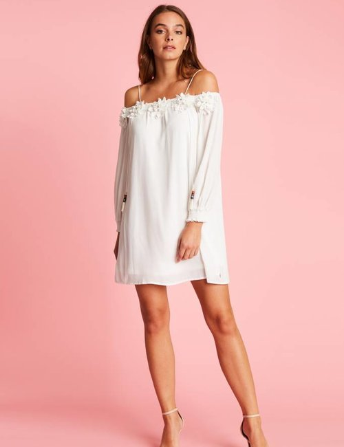 Jacky Luxury Off-shoulder jurk met bloemdetails