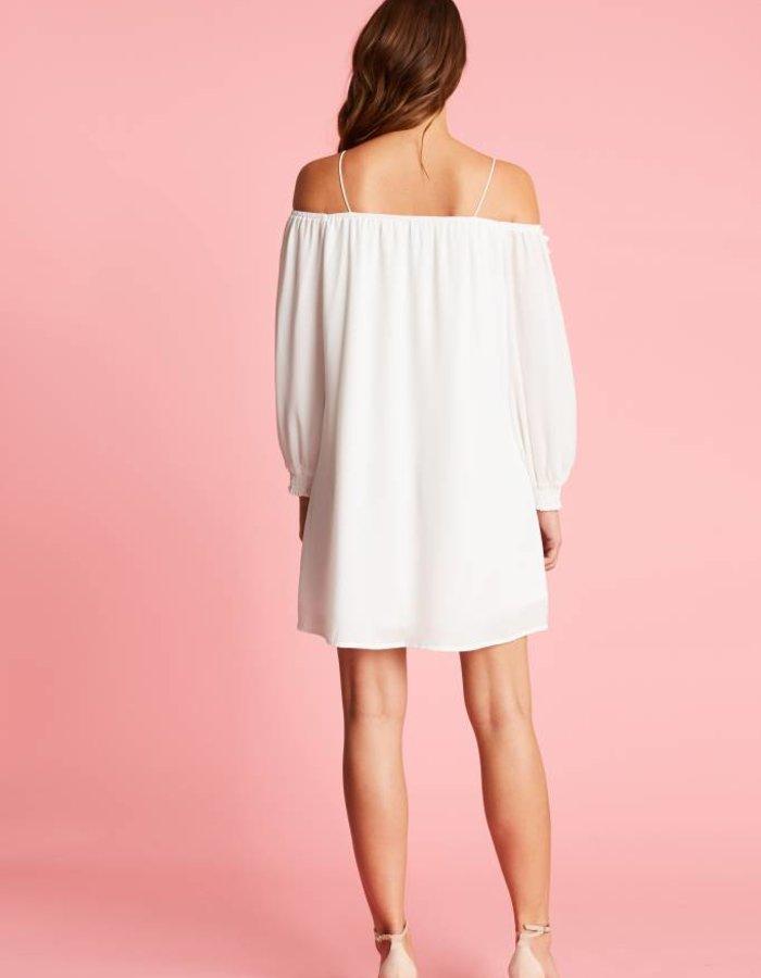 Off-shoulder jurk met bloemdetails