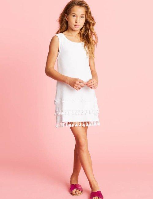 Jacky Luxury Mouwloze jurk met kwastjes