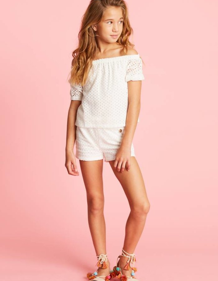 Shorts met broderie anglaise