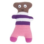 Sebra Gehaakte knuffel Crazy Teddy Pink-Brown