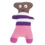 Sebra Gehaakte knuffel Crazy Teddy Pink-Brown