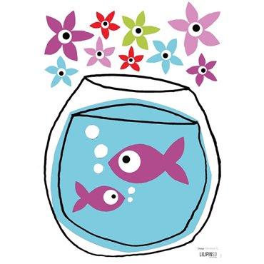 Lilipinso Muurstickers Viskom met paarse visjes