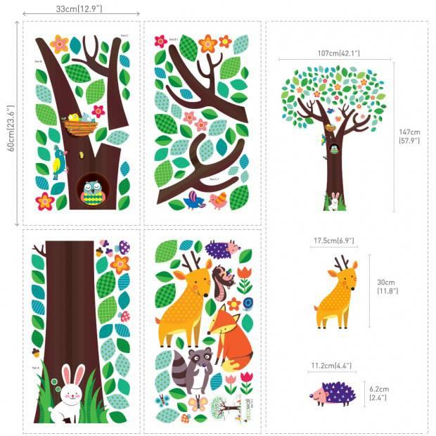 Decowall Muursticker boom met dierenvriendjes