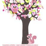 Studio Poppy Behangboom Bosdieren groen-roze 001 A