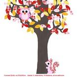 Studio Poppy Behangboom Bosdieren rood-geel 001 A