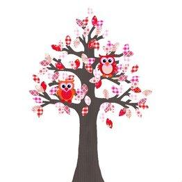 Studio Poppy Behangboom Uil rood-roze 001 A (stam verkrijgbaar in diverse kleuren)