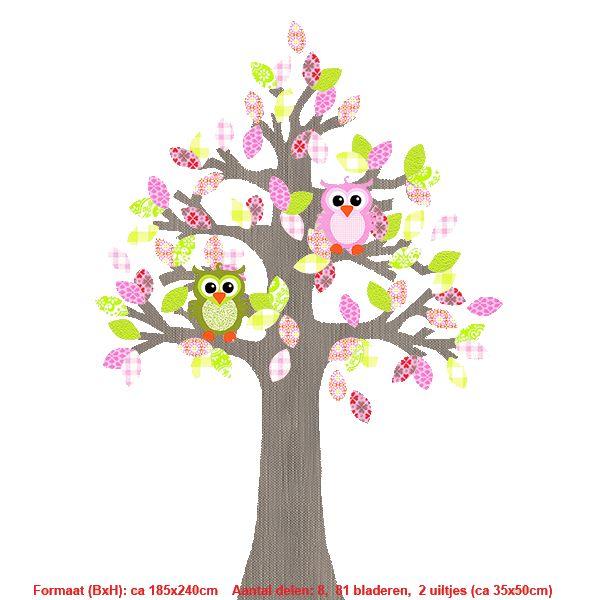 Studio Poppy Behangboom Uil roze-groen 001 A (stam verkrijgbaar in diverse kleuren)