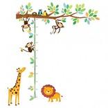 Decowall Muursticker tak lengtemeter kleine aapjes en dieren