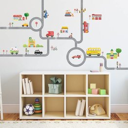 Decowall Muurstickers Road and Cars XL